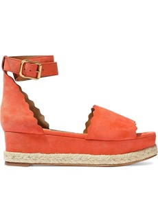 Chloé Woman Lauren Scalloped Suede Platform Espadrille Sandals Coral