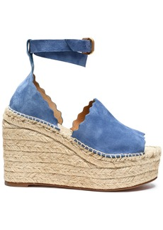 Chloé Woman Lauren Suede Espadrille Wedge Sandals Azure