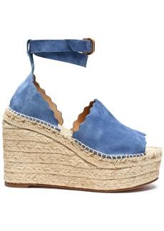 Chloé Woman Lauren Suede Espadrille Wedge Sandals Azure