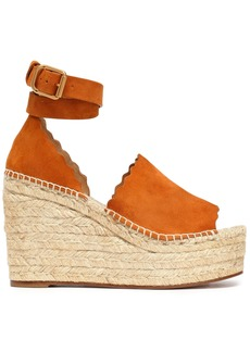 Chloé Woman Lauren Suede Espadrille Wedge Sandals Tan