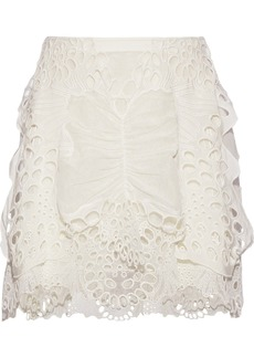 Chloé Woman Layered Broderie Anglaise Linen-blend And Tulle Mini Skirt Off-white
