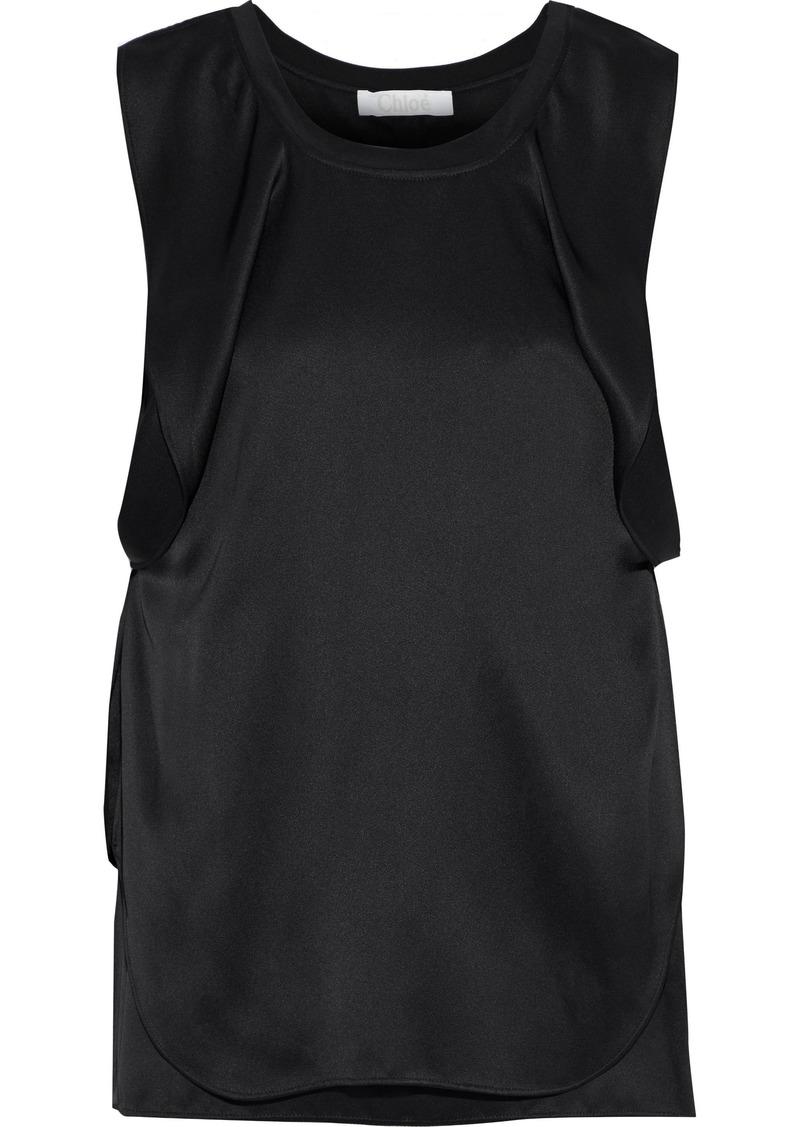 Chloé Woman Layered Draped Silk-blend Satin Tank Black