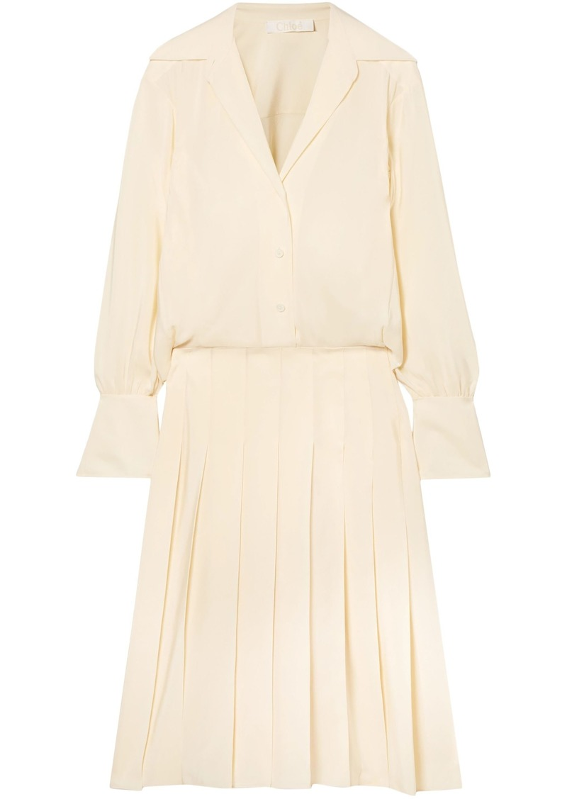 Chloé Woman Layered Pleated Silk Crepe De Chine Dress Cream