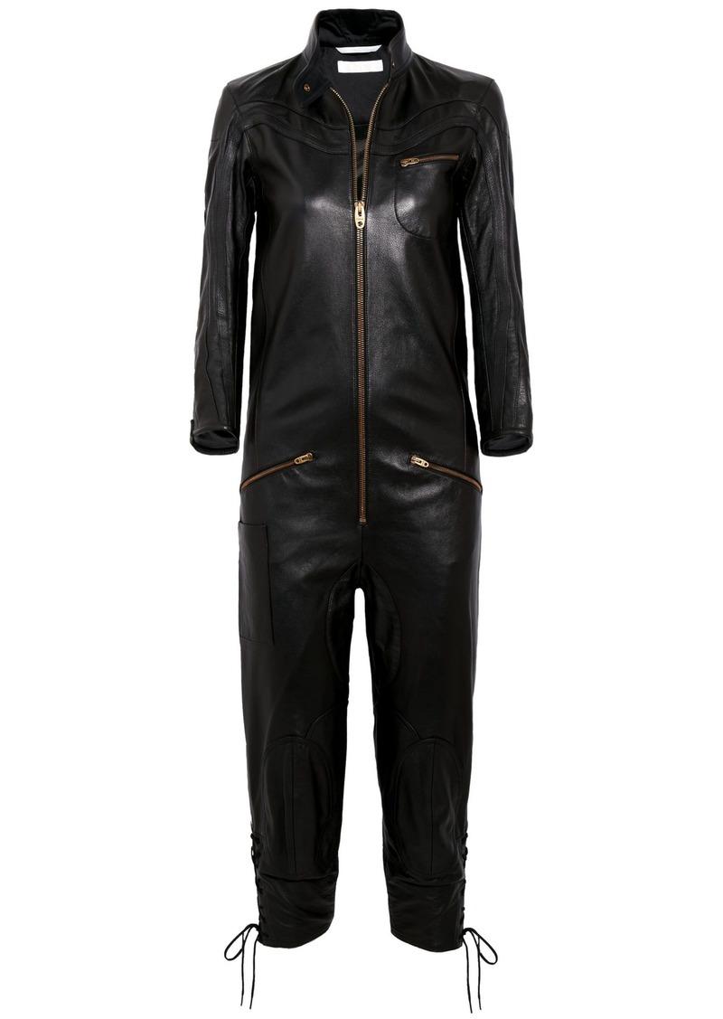 Chloé Woman Leather Jumpsuit Black