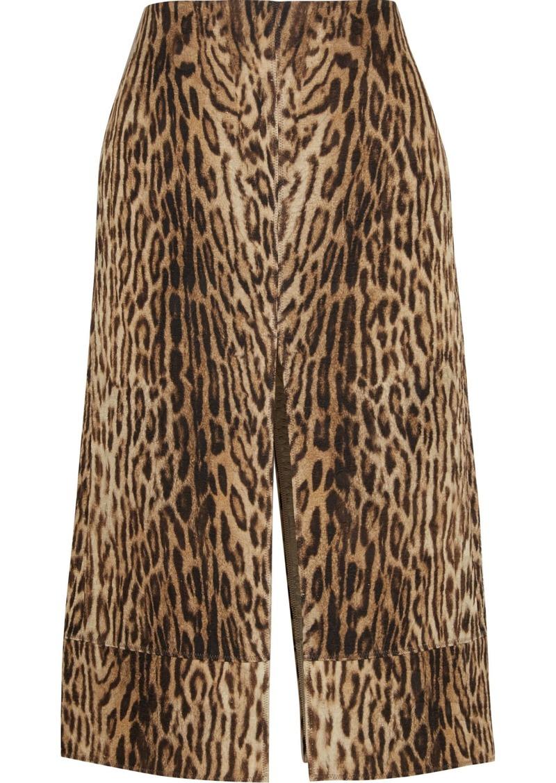 Chloé Woman Leopard-print Cotton-blend Matelassé Midi Skirt Animal Print