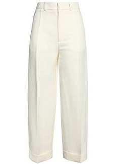 Chloé Woman Linen And Silk-blend Straight-leg Pants Ivory