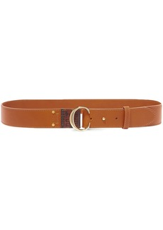 Chloé Woman Lizard-effect And Smooth Leather Belt Brown
