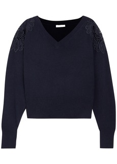 Chloé Woman Merine Guipure Lace-trimmed Wool And Cashmere-blend Sweater Navy