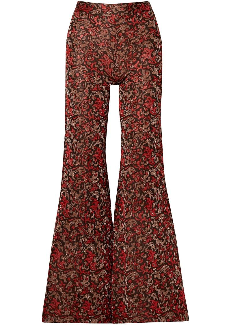 Chloé Woman Metallic Jacquard-knit Flared Pants Light Brown
