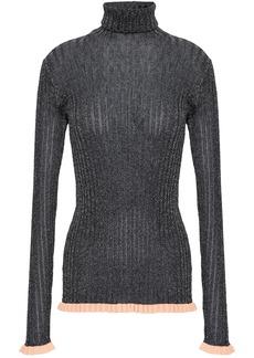 Chloé Woman Metallic Ribbed Silk-blend Turtleneck Top Black