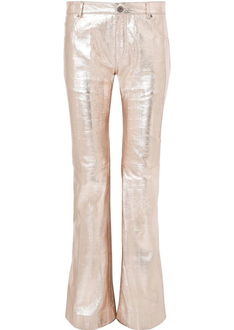 Chloé Woman Metallic Textured-leather Bootcut Pants Peach