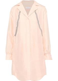 Chloé Woman Metallic-trimmed Washed-silk Mini Dress Blush