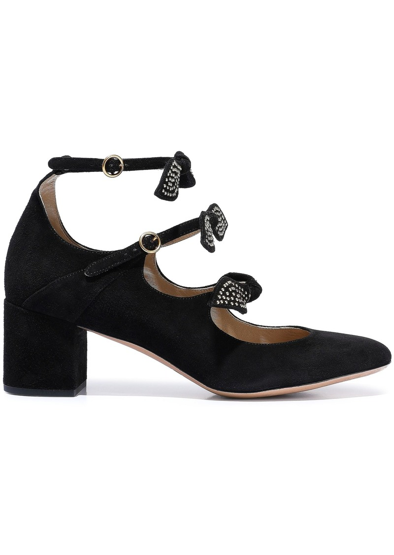 Chloé Woman Mike Studded Bow-embellished Suede Mary Jane Pumps Black