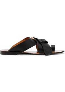 Chloé Woman Nils Buckled Textured-leather Sandals Black