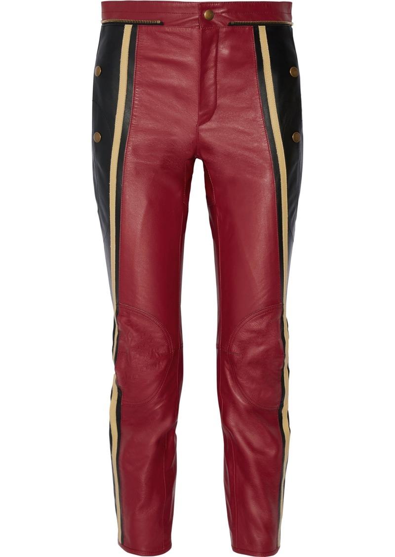 Chloé Woman Nubuck-trimmed Leather Slim-leg Pants Burgundy