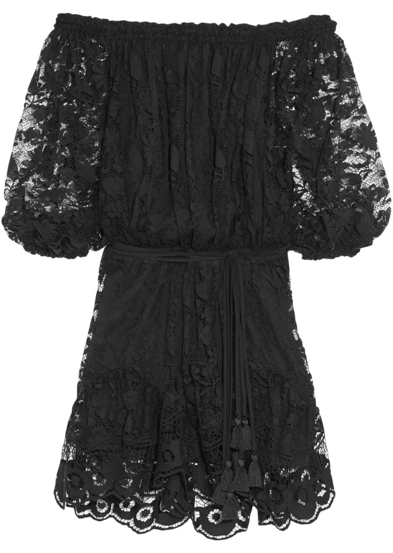 Chloé Woman Off-the-shoulder Cotton-blend Lace Mini Dress Black