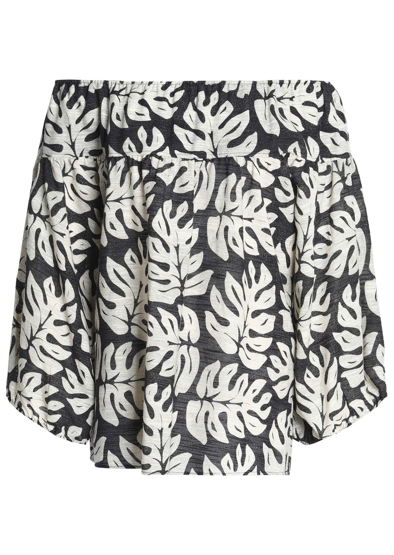 Chloé Woman Off-the-shoulder Printed Cotton And Wool-blend Top Charcoal