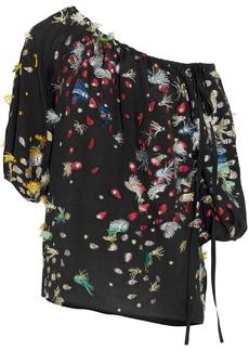 Chloé Woman One-shoulder Fil Coupé Silk-georgette Blouse Black