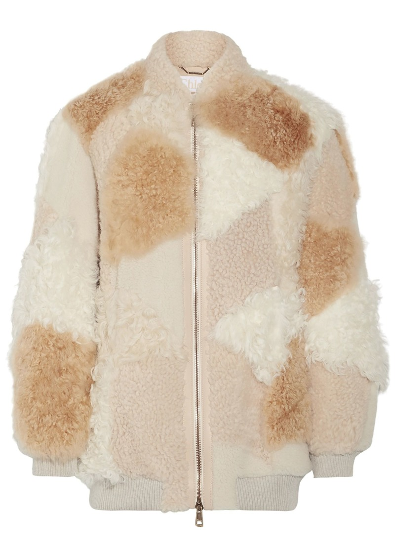 Chloé Woman Oversized Patchwork Shearling And Alpaca Bomber Jacket Beige