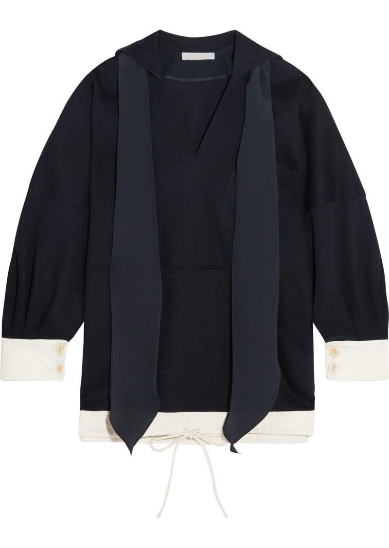 Chloé Woman Oversized Tie-neck Cotton-jersey Tunic Midnight Blue
