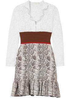 Chloé Woman Paneled Lace Stretch And Jacquard-knit Mini Dress White