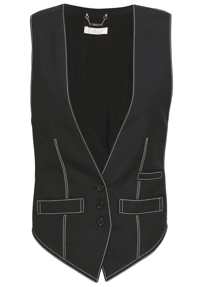 Chloé Woman Paneled Twill And Woven Vest Black