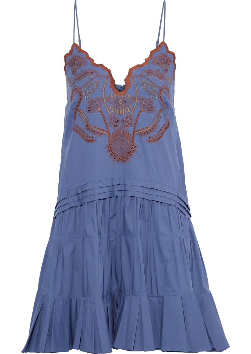 Chloé Woman Pintucked Broderie Anglaise Cotton Mini Dress Azure