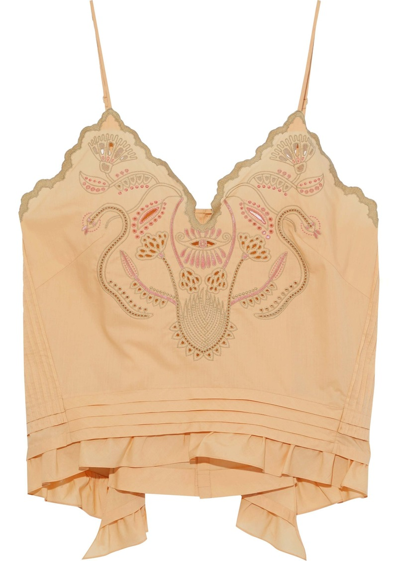 Chloé Woman Pintucked Broderie Anglaise Cotton Tank Beige