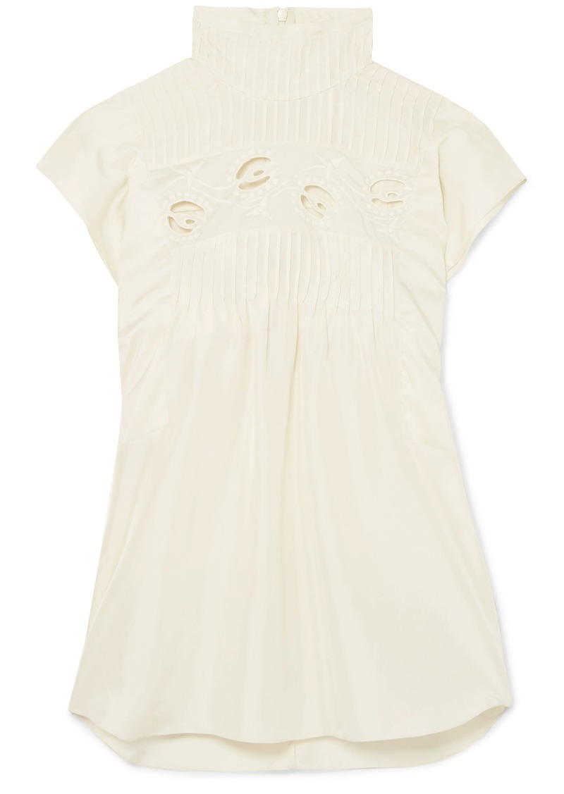 Chloé Woman Pintucked Broderie Anglaise Silk-charmeuse Turtleneck Top Cream