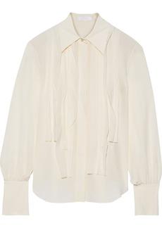 Chloé Woman Pintucked Silk Crepe De Chine Shirt Cream
