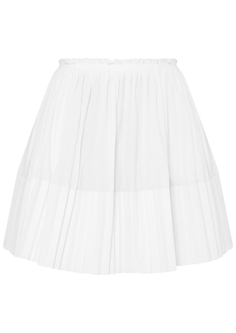Chloé Woman Pleated Cotton-poplin Mini Skirt White