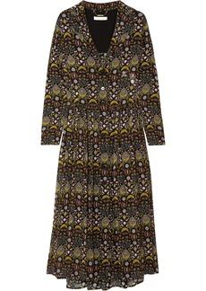 Chloé Woman Pleated Floral-print Georgette Midi Shirt Dress Black
