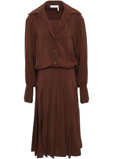 Chloé Woman Pleated Silk Crepe De Chine Dress Chocolate