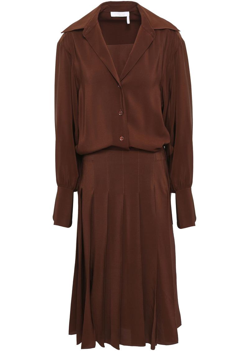 Chloé Woman Layered Pleated Silk Crepe De Chine Dress Chocolate