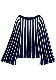 Chloé Woman Pleated Stretch-knit Top Navy