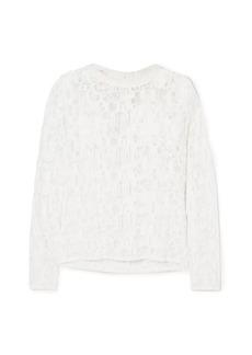 Chloé Woman Poplin-trimmed Cotton-blend Lace Top White