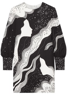 Chloé Woman Printed Crepe Mini Dress Black