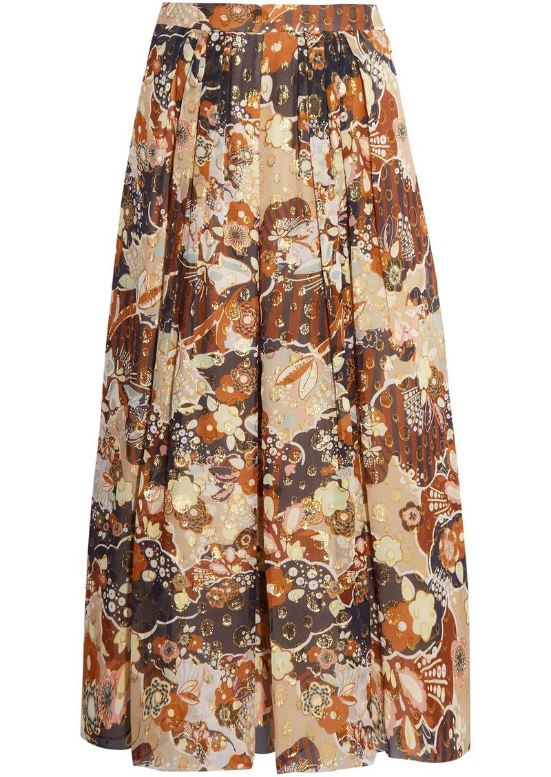 Chloé Woman Printed Fil Coupé Silk-gauze Midi Skirt Beige