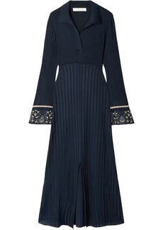 Chloé Woman Printed Georgette-trimmed Ribbed-knit Midi Dress Navy