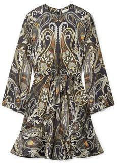 Chloé Woman Printed Metallic Silk-blend Mini Dress Dark Gray