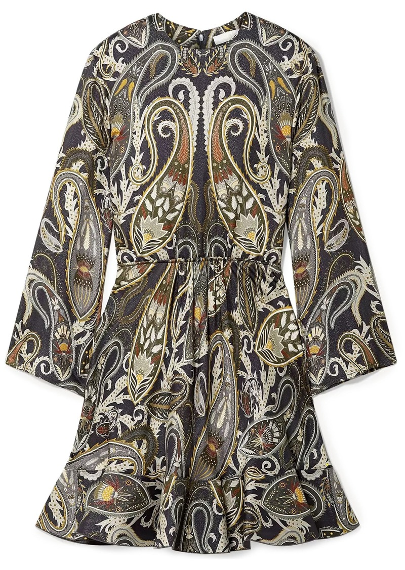 Chloé Woman Printed Metallic Silk-blend Mini Dress Dark Gray