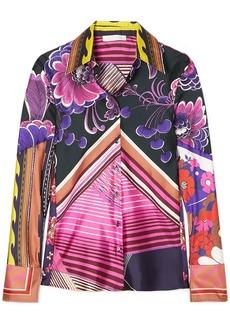 Chloé Woman Printed Silk-twill Shirt Pink