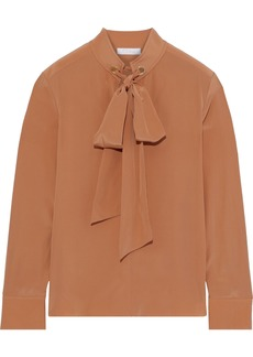 Chloé Woman Pussy-bow Eyelet-embellished Silk Crepe De Chine Blouse Tan
