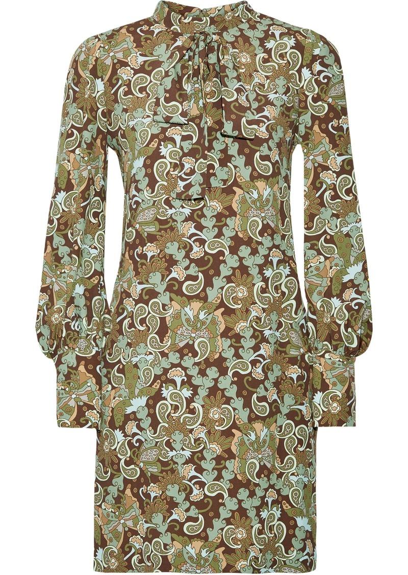 Chloé Woman Pussy-bow Printed Crepe Mini Dress Sage Green