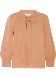 Chloé Woman Pussy-bow Wool Sweater Peach