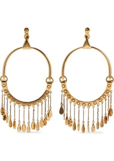 Chloé Woman Quinn Hammered Gold-tone Hoop Clip Earrings Gold