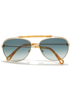 Chloé Woman Reece Aviator-style Gold-tone And Marbled Acetate Sunglasses Cobalt Blue