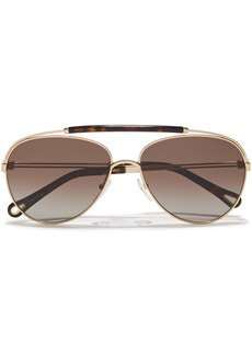 Chloé Woman Reece Aviator-style Gold-tone And Tortoiseshell Acetate Sunglasses Brown
