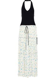 Chloé Woman Ribbed-knit And Floral-print Crepe De Chine Halterneck Maxi Dress Multicolor