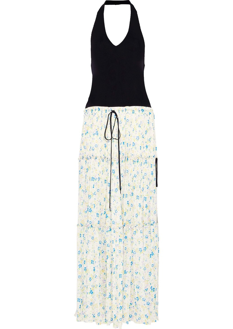 Chloé Woman Ribbed-knit And Floral-print Crepe De Chine Halterneck Maxi Dress Multicolor